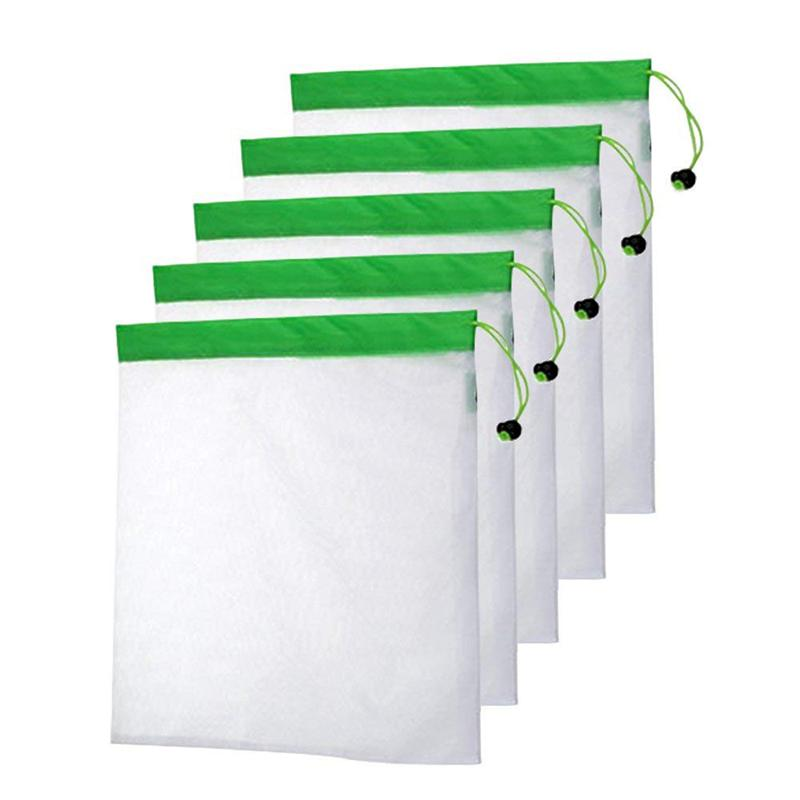 5 unids/set de bolsas de productos reutilizables lavables de poliéster, respetuoso con el medio ambiente suave Premium ligero vegetal cordón Bolsa de red de almacenamiento, fo