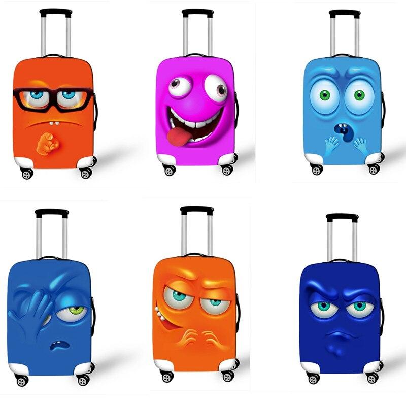 Sonrisa adorable de dibujos animados cara equipaje de viaje cubiertas protectoras de alta elasticidad para 18 a 32 pulgadas mujeres maleta cubierta de protección contra el polvo