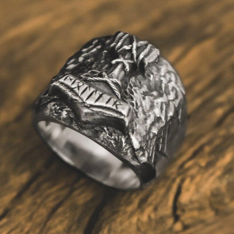 Hombre Mjolnir de Thor martillo anillo vikingo Odin de acero inoxidable runa anillos amuleto minimalismo nórdico de regalo de la joyería
