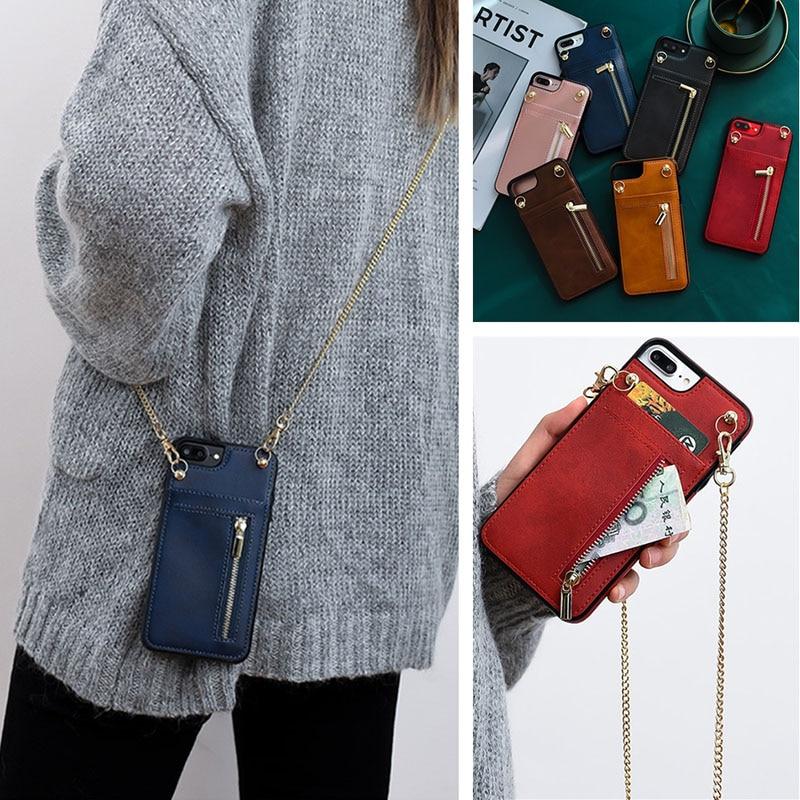 Golden Chain Shoulder Bag Strap Cover for iPhone 7 8 6S PLUS SE 2020 X XR XS 11 PRO MAX Card Zipper Wallet Crossbody Phone Case