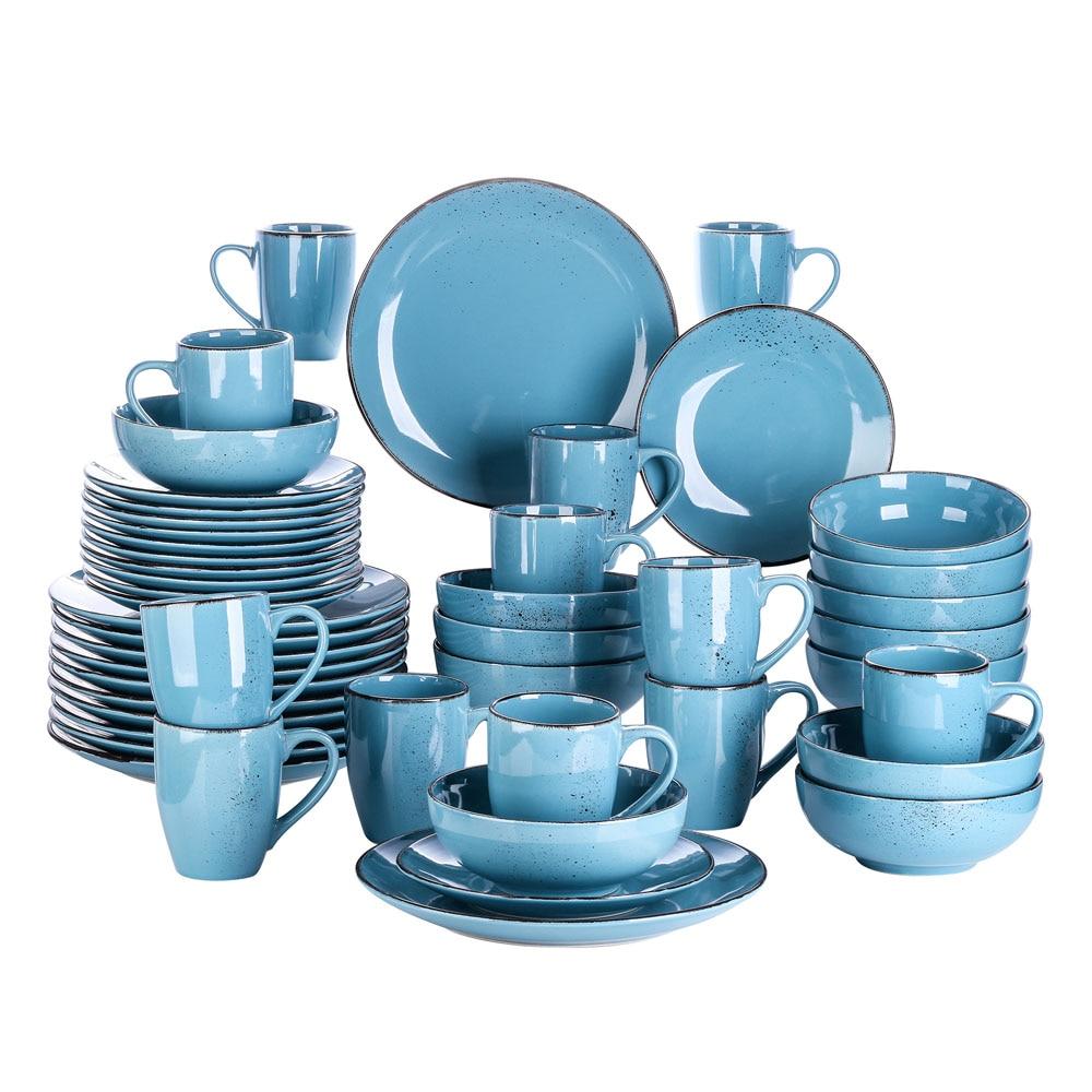 Vancasso Navia 16/32/48-قطعة السيراميك أدوات مائدة من الفخار مجموعة أطباق مع طبق عشاء ، طبق تقديم الحلوى ، 800 مللي عاء ، 380 مللي مجموعة الاكواب