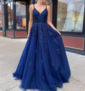 New Arrival A-Line Lace Appliques Evening Dress Sleeveless Spaghetti Strap Tulle Women Formal Party Gowns Floor Length Vestidos