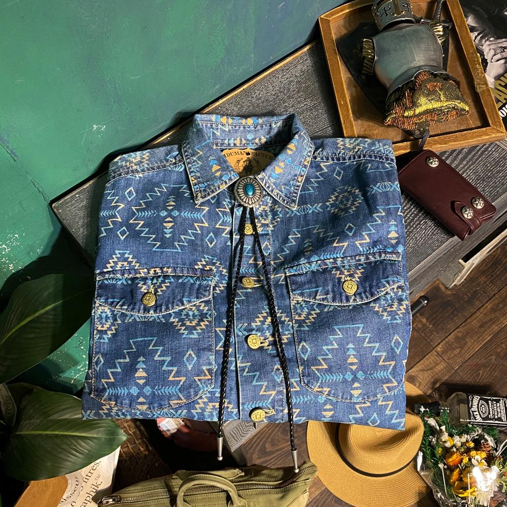 CDS318 Big US Size Genuine Super Quality Vintage Looking Stylish Durable Loose Fitting Mans Cotton Navajo Printing Denim Shirt