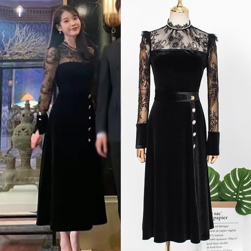 فستان نسائي من الدانتيل الأسود ، على الطراز الكوري ، موديل خريف وشتاء 2021
