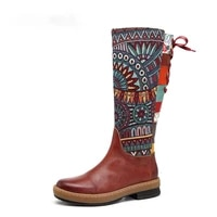 vintage mid calf boots women shoes bohemian retro genuine leather motorcycle boots printed side zipper back lace up botas