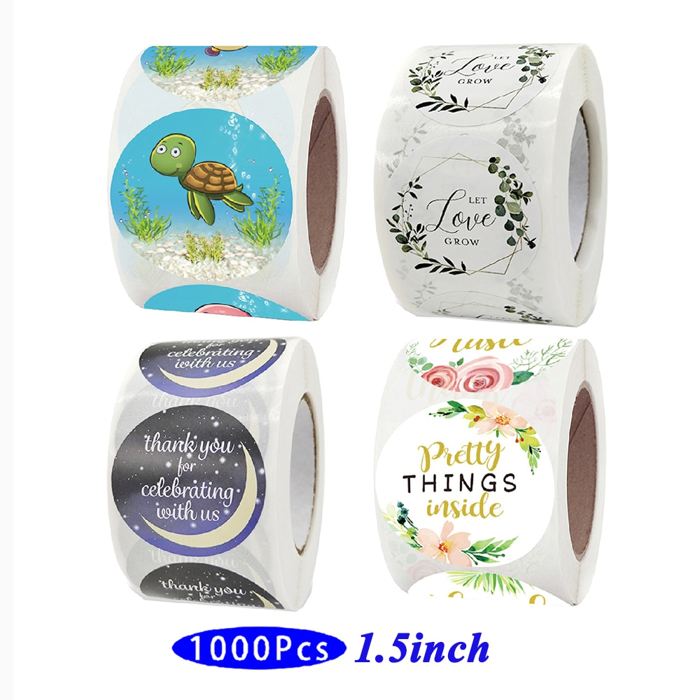 1.5'' 1000Pc Roll Retro Cute Kids Girl Stickers Car Cat Kawaii Aesthetic Scrapbooking Seal Label Post Gift Package Closing Decor