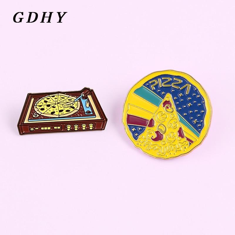 GDHY Punk Pizza tocadiscos amantes de la música broches esmalte Pin DJ disco reproductor Pizza insignia broche solapa pin joyería regalo