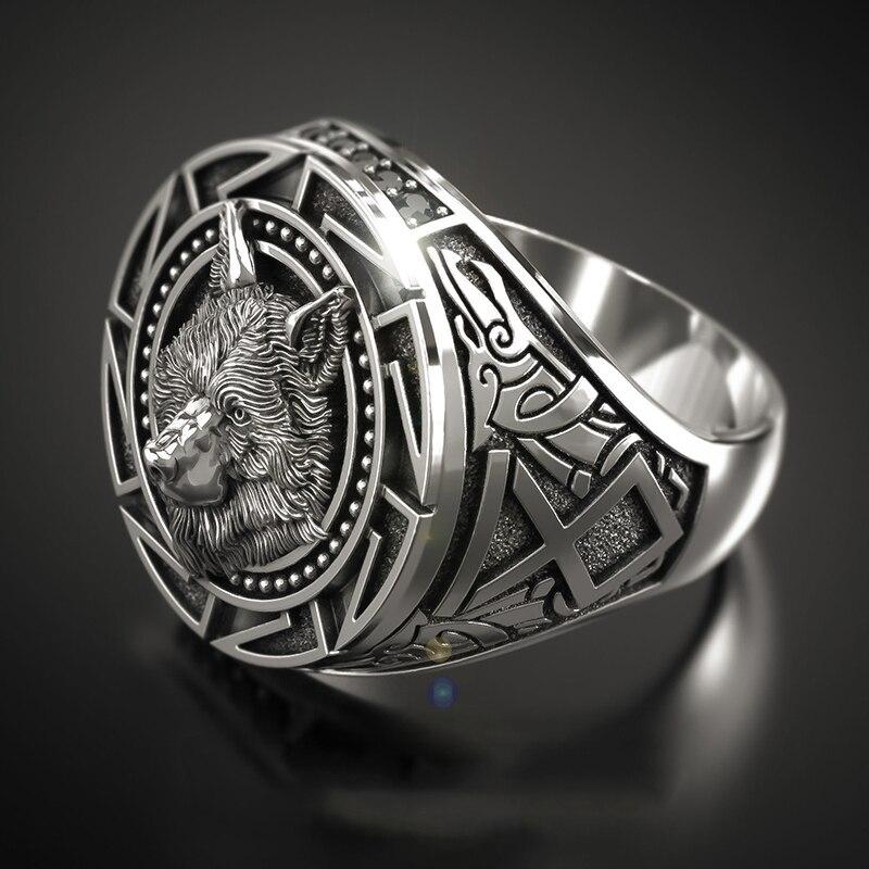 Мужское кольцо с головой воина Викинга, кольцо в стиле ретро кельтский волк тотем, креативное готическое кольцо в стиле хип-хоп и панк для езды на велосипеде, оптовая продажа