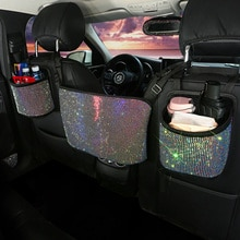 Luxury Diamond Rhinestone Car Storage Bag Organizer Seat Back Holder Multi-Pockets Car Backseat Stow