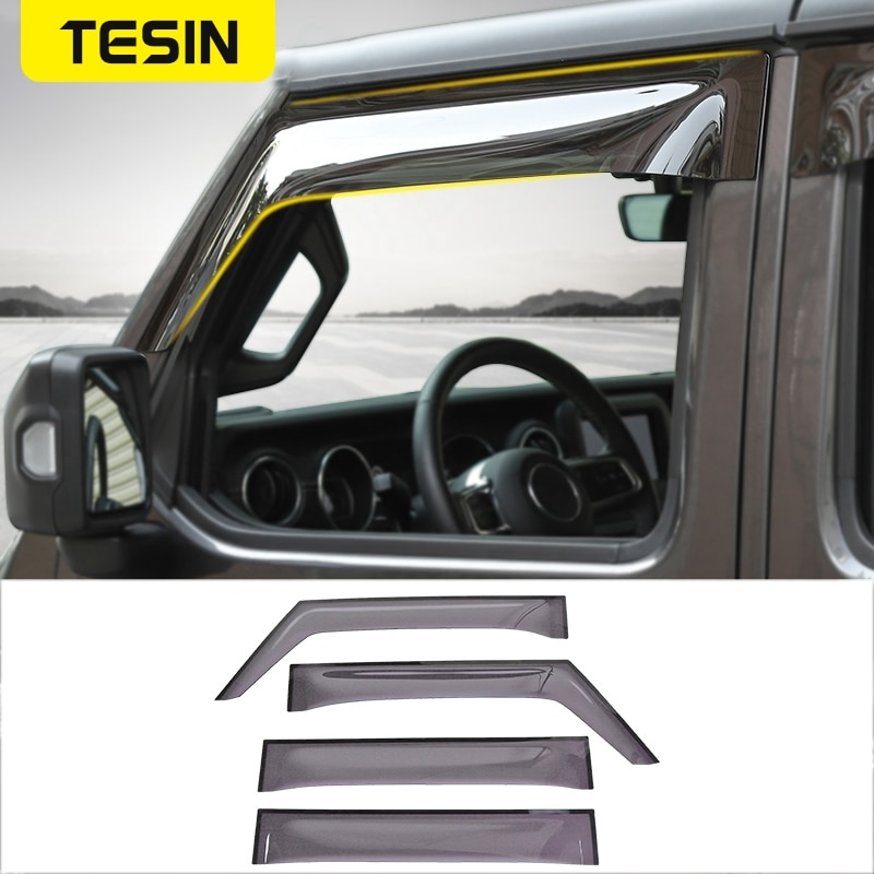 Tesin viseiras da janela do carro para jeep wrangler jl 2018 janelas do carro sunvisor capa chuva sol viseira escudo capa guarda acessórios do carro