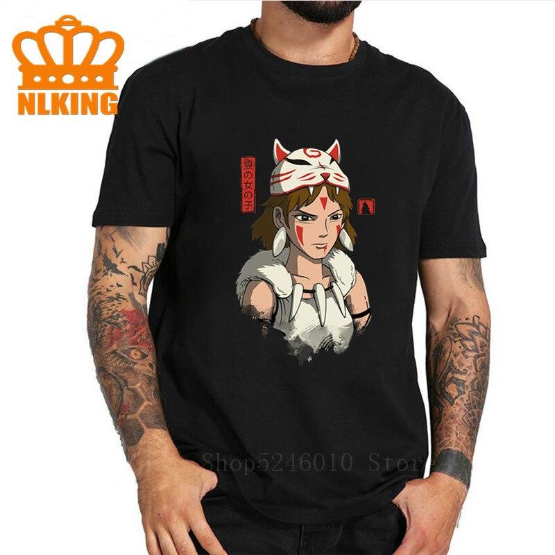 T-shirts do estúdio básico ghibli impresso roupas da princesa mononoke t camisa mononoke lobo anime pintura digital camiseta filmes divertidos