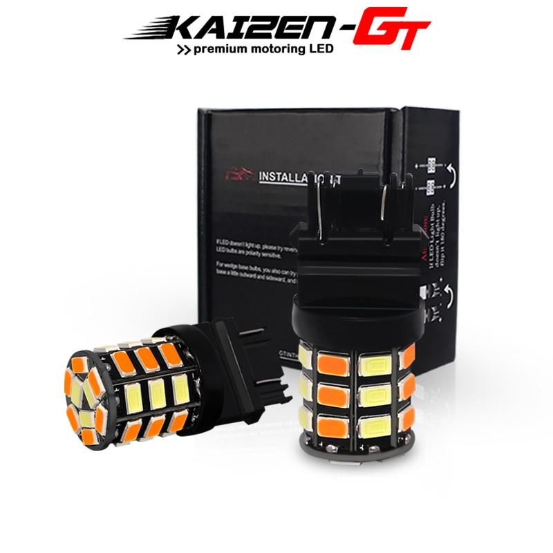 Bombillas LED de luz intermitente delantera de doble Color blanco/ámbar T25 3157 P27/5W P27/7W 33-SMD