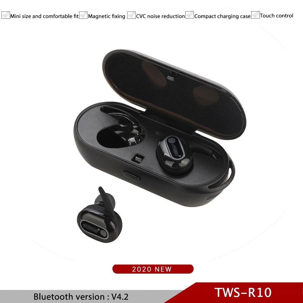 TWS-R10 Bluetooth con cargador, auriculares inalámbricos con Control táctil PK, Airpo I12, Auriculares Bluetooth con cancelación de ruido