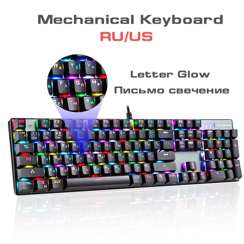 RU/الولايات المتحدة لوحة مفاتيح الألعاب الميكانيكية 104 مفاتيح الأزرق الأحمر التبديل السلكية لوحات المفاتيح مكافحة الظلال RGB الخلفية LED USB للاع...