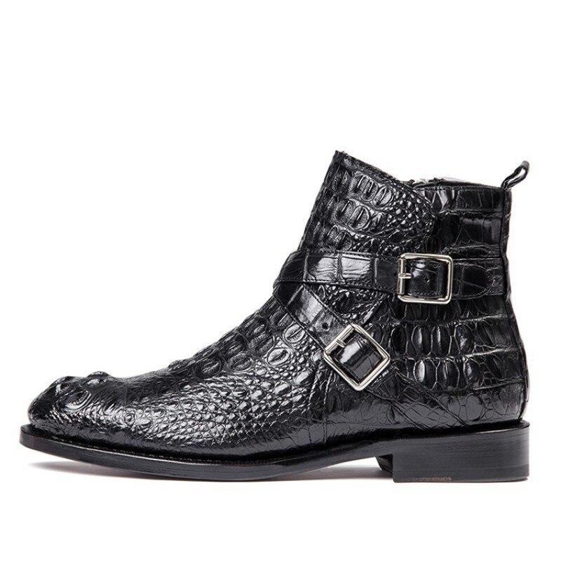 British Double Buckle Ankle Boots Men Luxury Business Genuine Leather Shoes Men Designer Crocodile Leather Black Dress Shoes