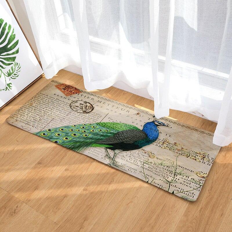 Decoración del hogar fotografía Pavo Real alfombra larga almohadilla de tierra Oficina alfombra de suelo fresco baño cocina alfombras antideslizantes