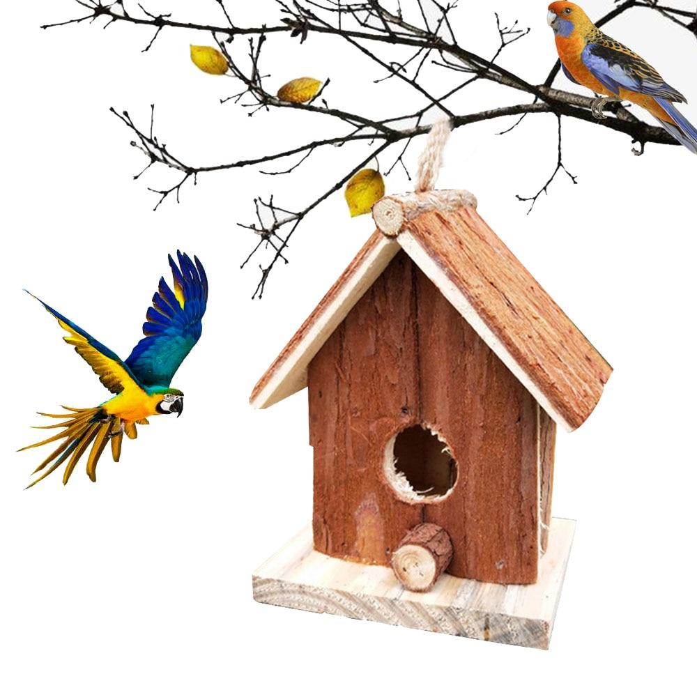 Casa de madera para pájaros colgante exterior, casa de pájaros hecha a mano, Nido de Pájaro Natural, cabaña de pájaro, patio de casa, decoración de jardinería artesanal