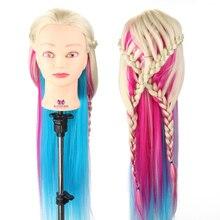 Coiffure poupée 28 cheveux longs Mannequin tête 4 couleurs tressage coiffure formation tête femme + pince Mannequin