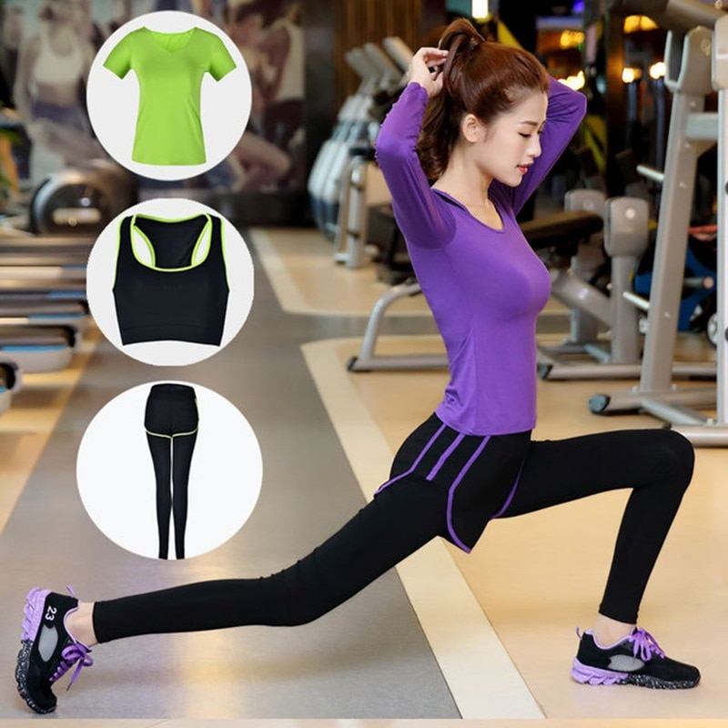 Women's Yoga Set New Autumn Winter Three-piece Set  Modal Workout Clothes Fake 2 Sports Running Suit Dance Practice Clothing Hot