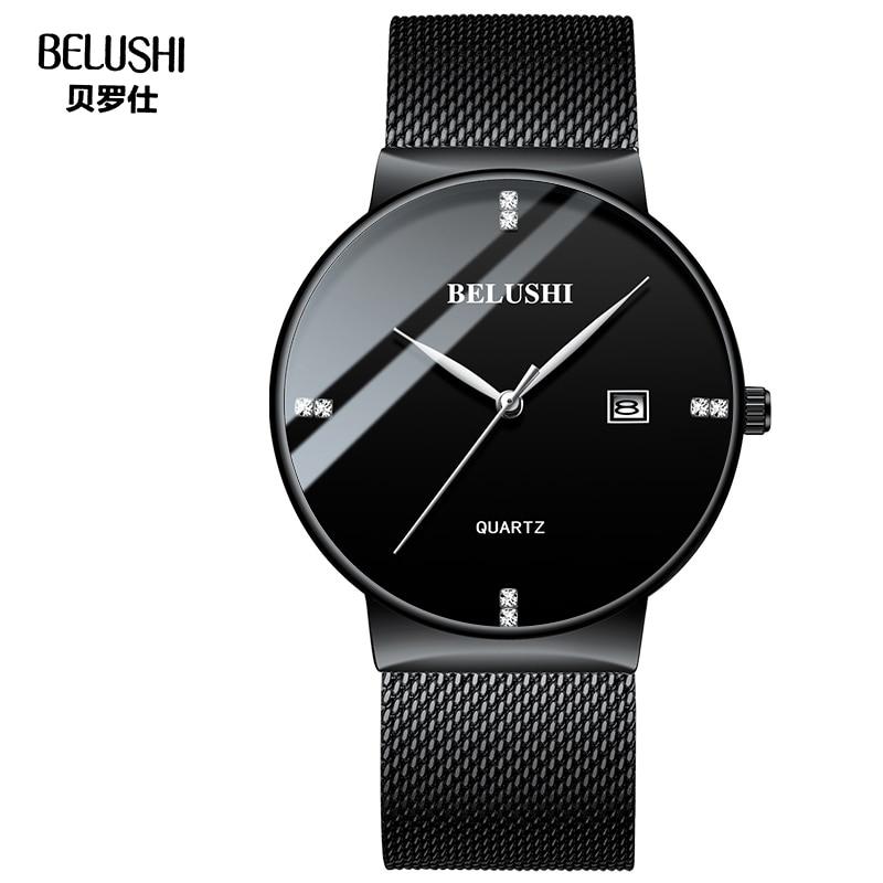 Mens Watches BELUSHI Brand Men Diamond Drill Scale Quartz Watch Milanese Mesh Band Wristwatch Date Clocks horloges mannen #a