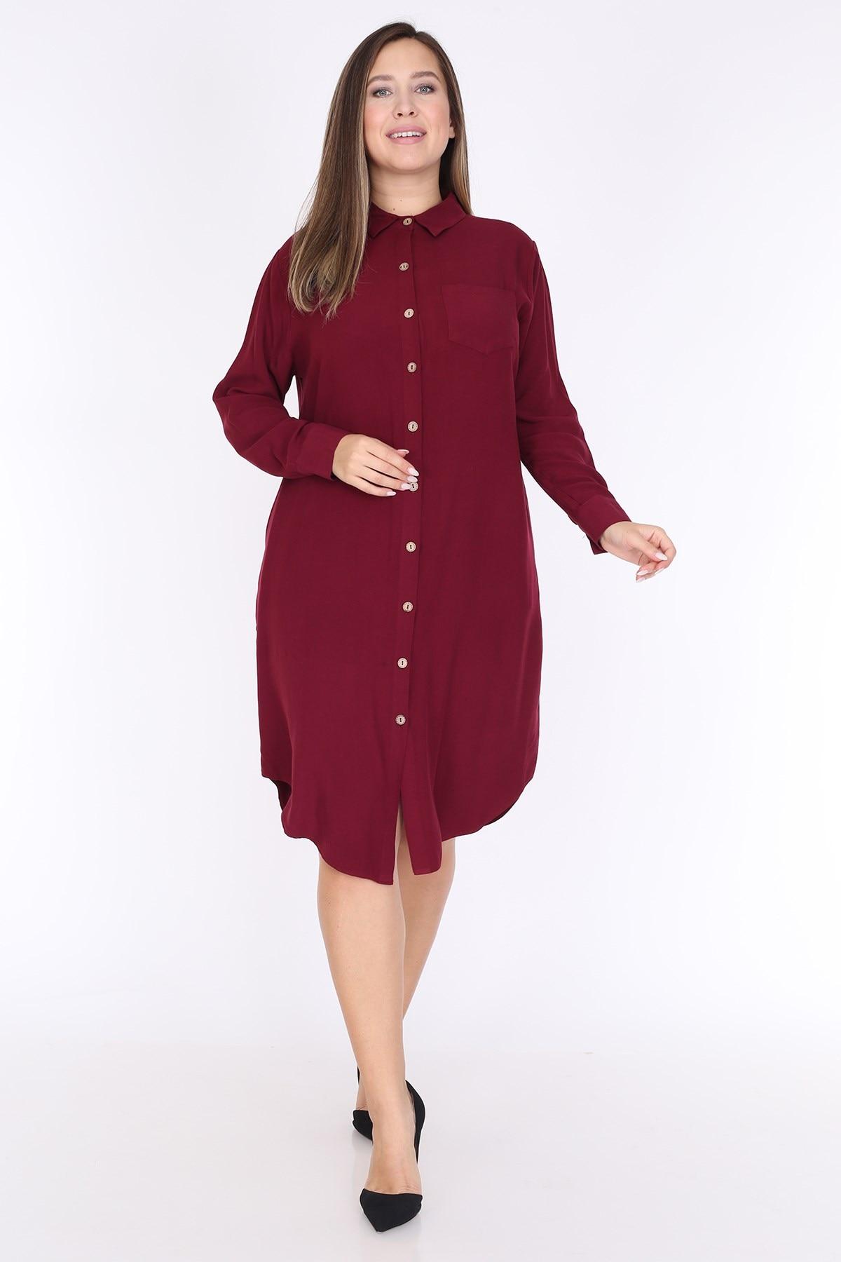 Feminino plus tamanho manga comprida bolso detalhe camisa vestido borgonha 1594