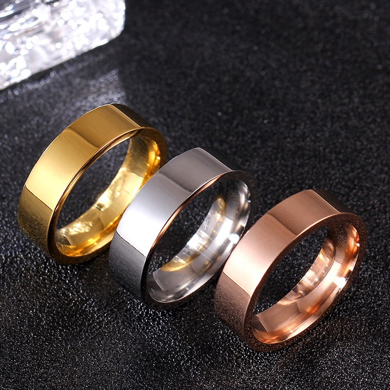 MOREDEAR 6MM Rose Gold Titanium Band Brushed Wedding Stainless Steel Solid Ring Men Women