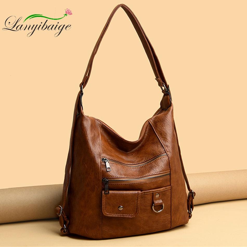 Hot 3IN1 Women's Bag Large Capacity Soft PU Leather Handbag 2020 New Trend Ladies Shoulder Messenger Bags Sac A Main