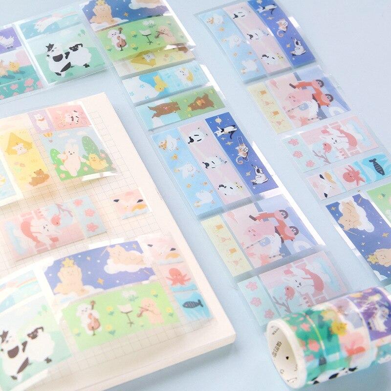 PET Transparent Washi Band 50mm * 33 Kawaii Breiten Masking Tape Nette Hand Gemalt Farbe Planer Buch Journal Dekorative band