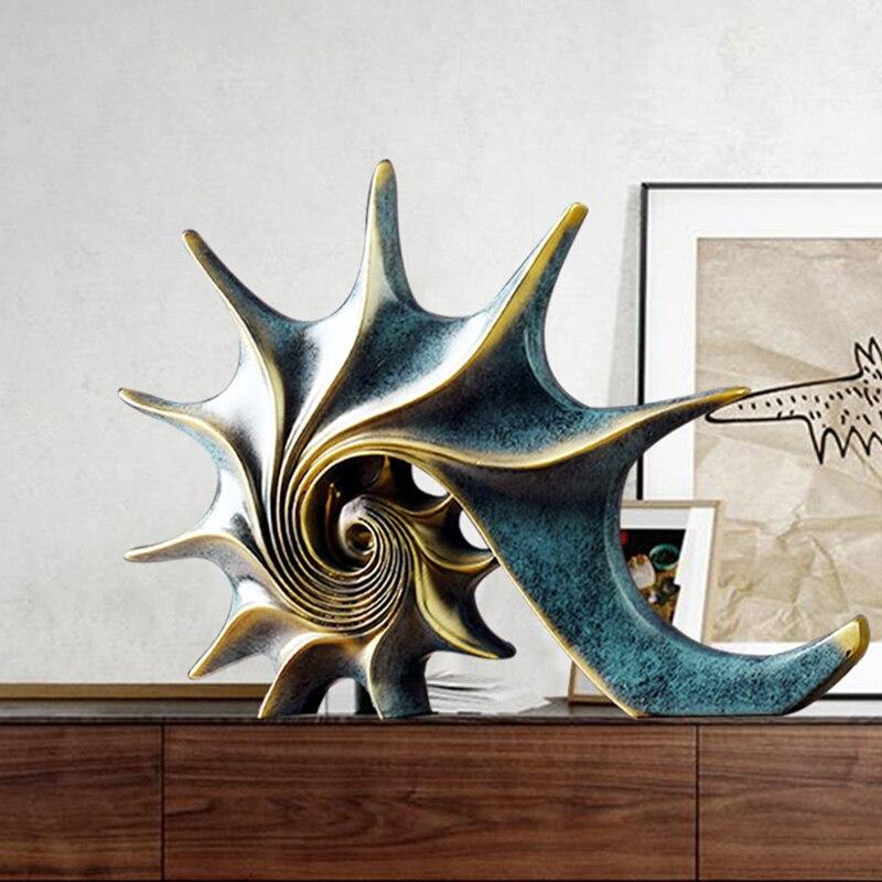 Casa decorações acessórios tema marinho conch feng shui ornamentos criativo casa decoração estatueta para sala de estar, quarto