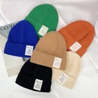 new korean wool knitted beanies autumn winter fashion elastic warmer bonnet classic solid color skullcap casual cap wholesale