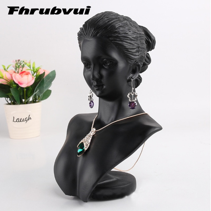 Black Resin Mannequin Bust Gift  Jewelry Necklace Pendant Earring Display Stand Holder Show Decorate Jewelry Display Shelf