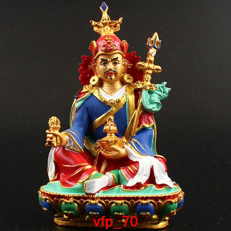 Estatua de Pequeño Buda Padmasambhava de dibujo de color de resina de Budismo de China