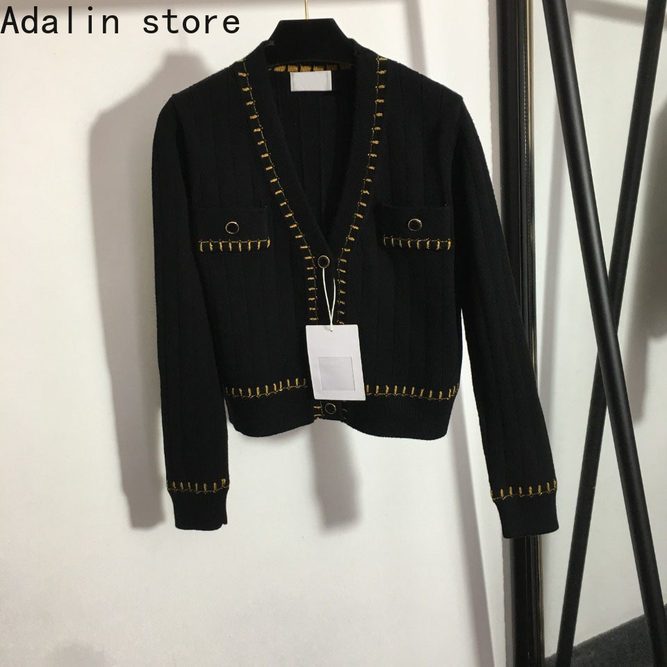 high quality autumn and winter fashion women's bright silk blended single breasted knitted V-Neck long sleeved cardigan coat enlarge