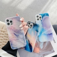 gold foil glitter dream galaxy marble phone case for iphone 11 12 mini pro xs max x xr 7 8 plus se 2020 soft silicon back cover