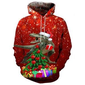 Unisex Christmas Dinosaur Gift 3D Digital Print Loose Hooded Sweater Pullover Women Men Xmas New Year Baseball Sweatshirt Hoodie