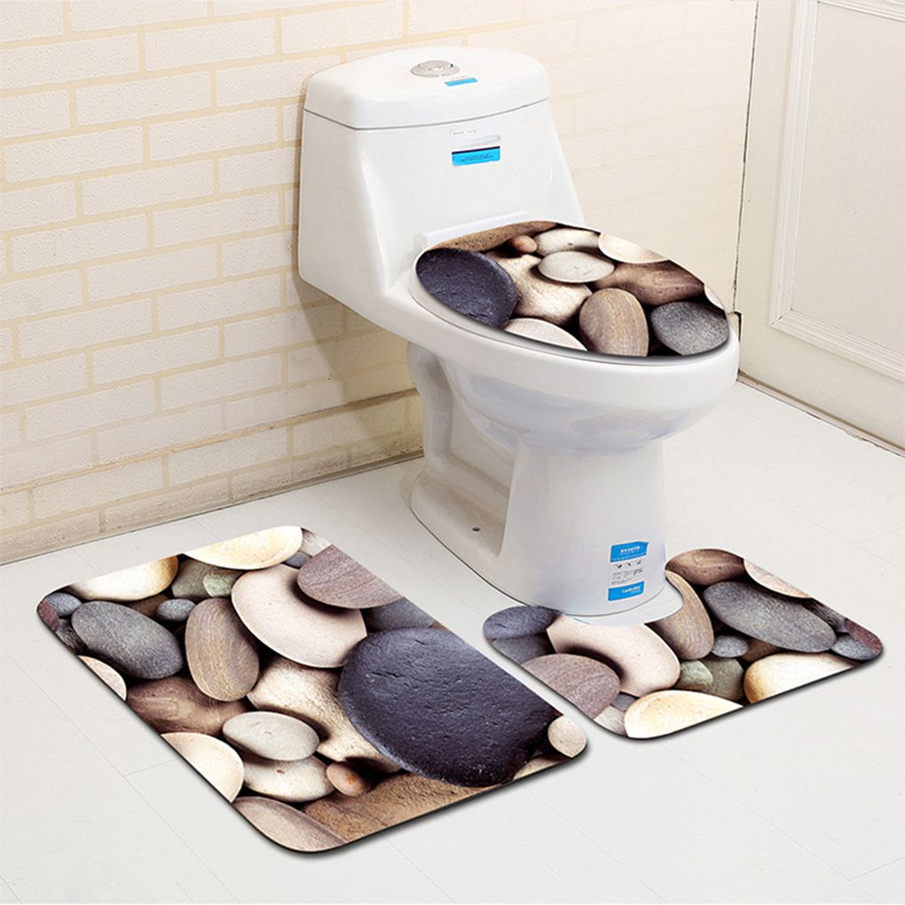 2019 New 3Pcs/set Bath Mat For Bathroom Mat Anti-Slip Rug Bathroom Toliet Cover Rug Washable Beach Style Stone Cartoon Bath Mat