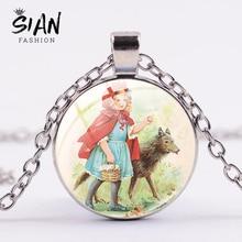 SIAN Classic Little Red Riding Hood and Wolf Necklace Steampunk Cartoon Little Girl Art Photo Glass Gem Pendant Handmade Jewelry