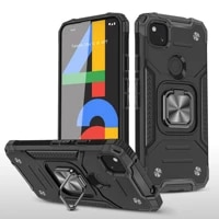 luxury protection phone case for google pixel 5 4a 5a 5g luxury armor shockproof anti fall metal ring bracket car holder cover