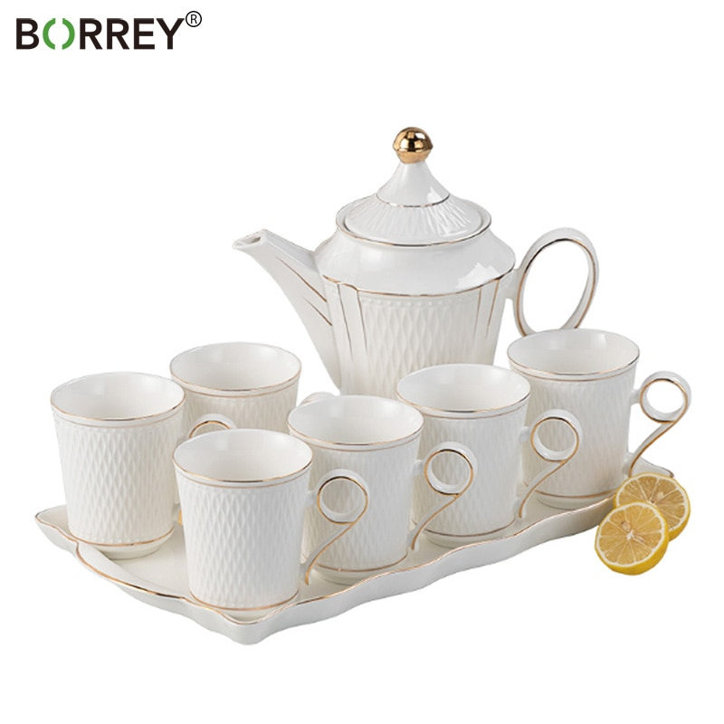 BORREY Bone-طقم شاي بورسلين صيني ، إبريق شاي من السيراميك الأبيض مع صينية شاي ، إبريق شاي على شكل زهرة ، طقم أكواب قهوة