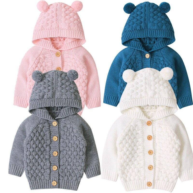 Suéteres para niños 0-24M recién nacido bebé niño niña Otoño Invierno lindo orejas 3D sólido con capucha de manga larga abrigos de punto para exterior Tops 2019