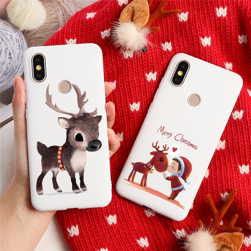 Noël Wapiti Pour Xiaomi Redmi 7A 6A S2 Note 7 5A 5 Plus 6 K20 Pro Km A3 A1 A2 6X 9T 8 Lite 9 SE F1 CC9 CC9e TPU Housse