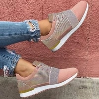 summer new style stitching cross straps color matching casual breathable ladies net shoes womens shoes flat casual shoes 2021