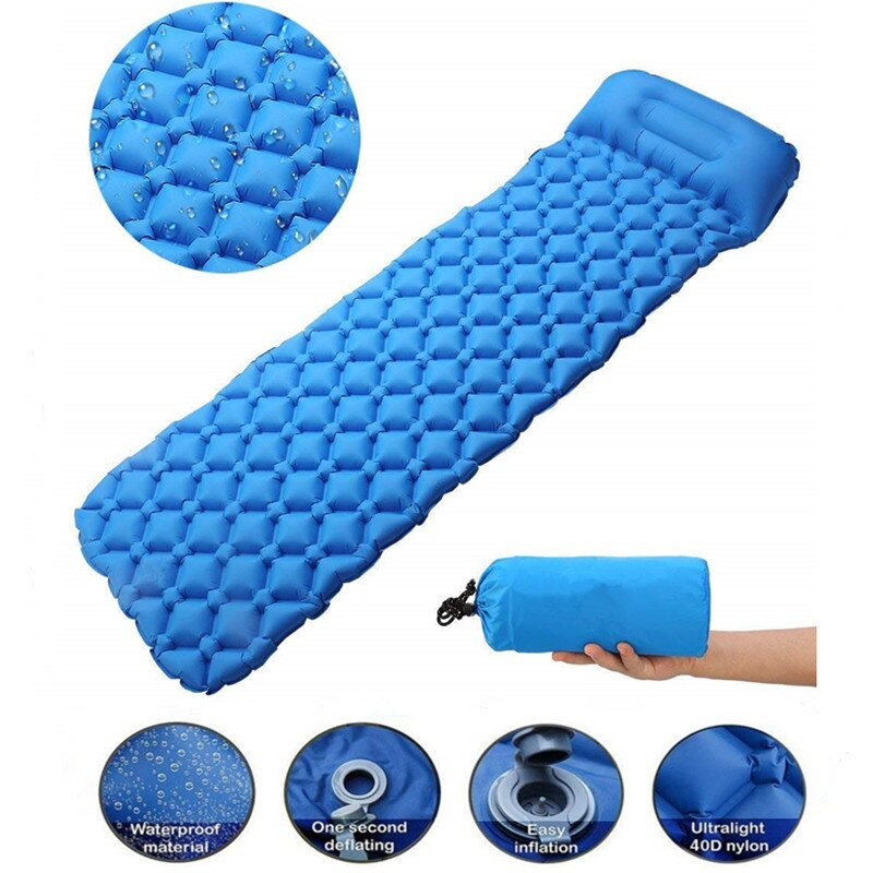 Outdoor Inflatable Sleeping Pad Inflatable Air Cushion Camping Mat with Pillow Air Mattress Sleeping Cushion Inflatable Sofa недорого