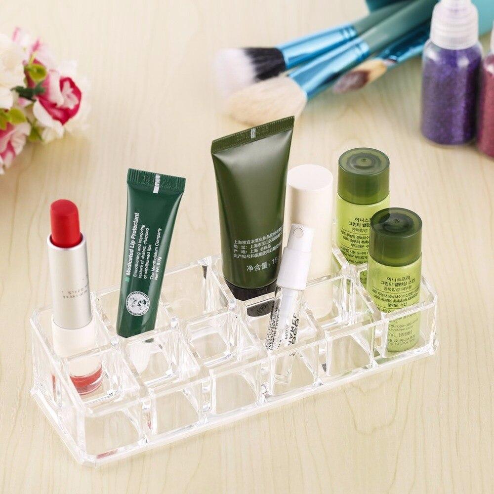 12 trapezoidal claro acrílico maquillaje pantalla soporte de lápiz labial funda maquillaje cosméticos lápiz labial organizador titular Kit de herramientas de maquillaje