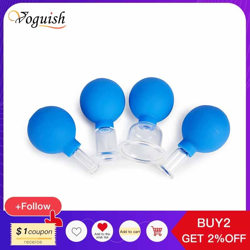 Vacuum Cupping Cups Rubber Head Glass Anti Cellulite Cans Suction Body Massage Jar Chinese Therapy Face Cupping for Health Care vacuum suction family body therapy massage nipple enhancer anti cellulite vacuum silicone cupping face lift face slimming tool