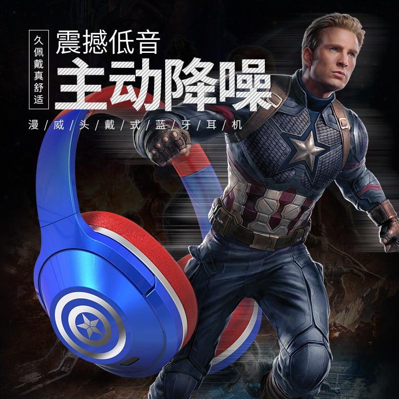 Marvel's genuine Captain America Headphone Bluetooth-compatible Headset Iron Man Noise-cancelling Headset extra-large capaci enlarge