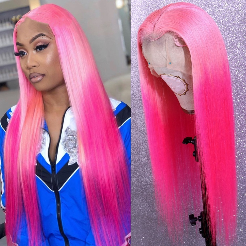 Pink Ombre Rose Pink Long Straight 13x5 Lace Front Wigs For Black Women 180 Density