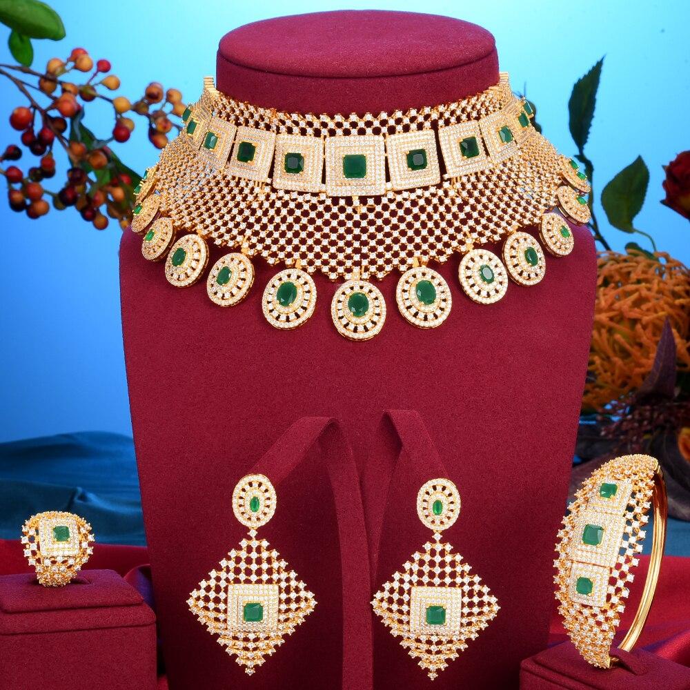 GODKI الفاخرة الأميرة تاج زهرة بيان المختنق مجموعات مجوهرات للنساء الزفاف الأفريقي مكعب الزركون تشيكوسلوفاكيا دبي مجوهرات الزفاف