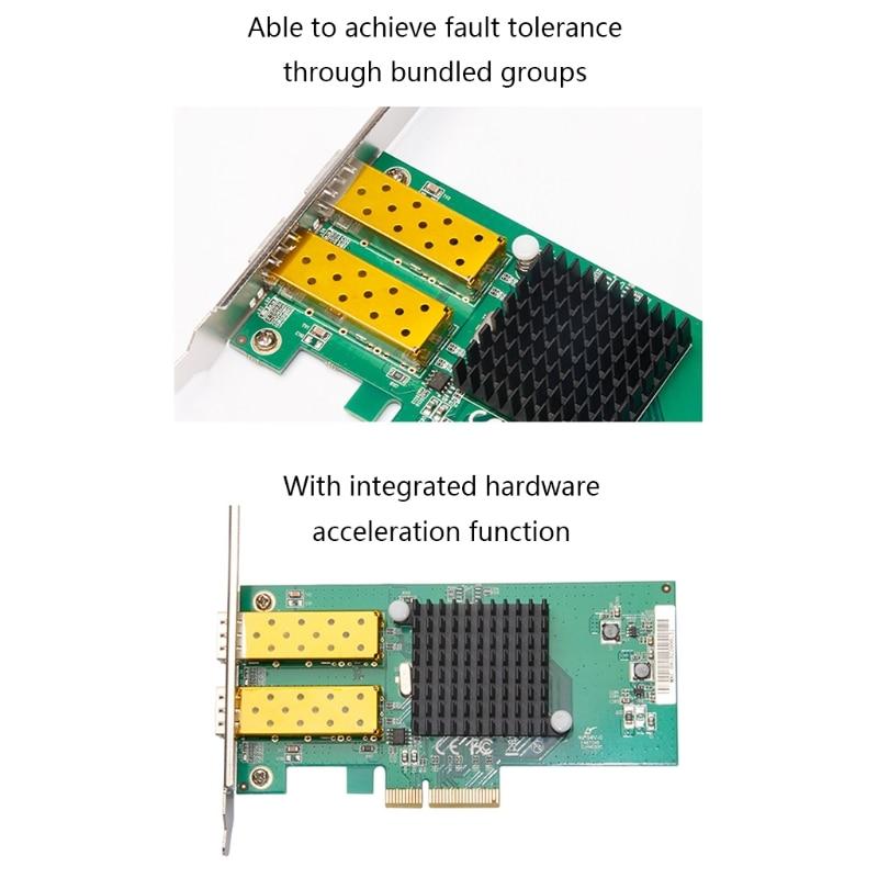67JA Dual Port Nic PCI Express X4 Gigabit Network Card for 82576 Ethernet Adapter 1000Mbps 2x SFP Ports Desktop Network Card