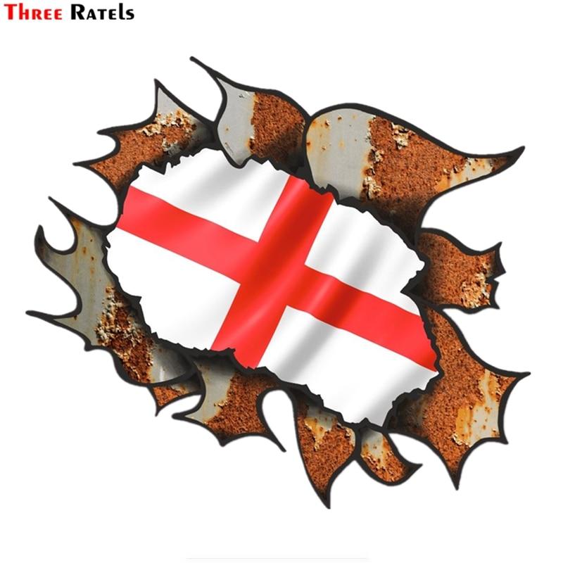 Three ratels FTC-799 #15x13,4 cm arrancó roto metal oxidado diseño con Inglaterra Inglés motivo bandera exterior vinilo coche etiqueta engomada etiqueta